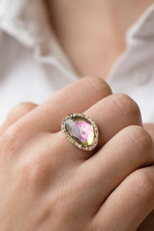 celine daoust light rose gold watermelon tourmaline and diamond stella ring