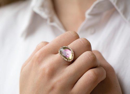 celine daoust light rose gold watermelon tourmaline and diamond stella ring