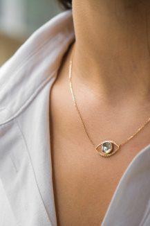 yellow gold polki diamond slice eye and diamonds chain necklace