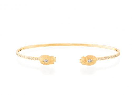 Celine Daoust Yellow Gold White Diamonds Scarab Bangle