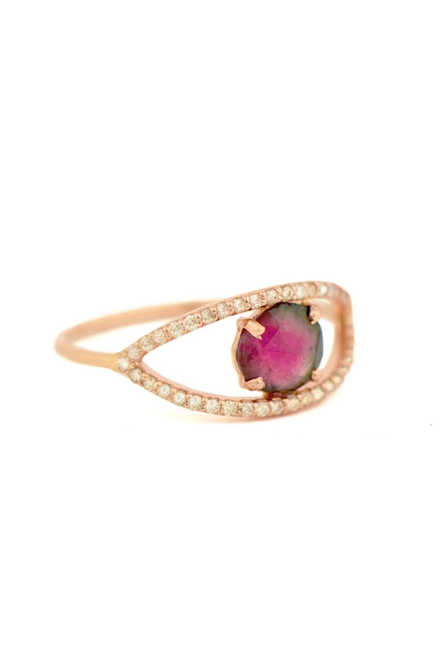 celine daoust one of a kind tourmaline and diamonds open eye ring
