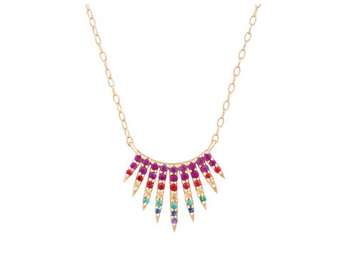 yellow gold rising sun rainbow sapphire necklace celine daoust