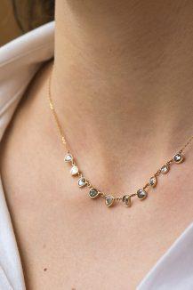 Celine Daoust_Slice of the Universe_multi Grey Diamonds slice Necklace