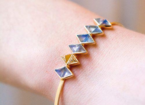 yellow gold geometrics labradorite and pyramid diamonds celine daoust