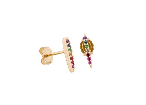 celine daoust gold sun beam gemstone stud earrings
