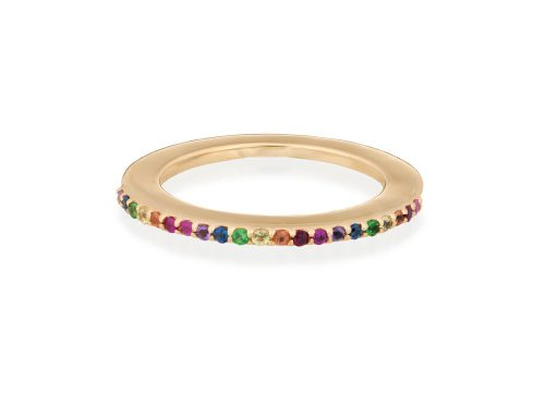 yellow gold rainbow gemstones disc ring celine daoust