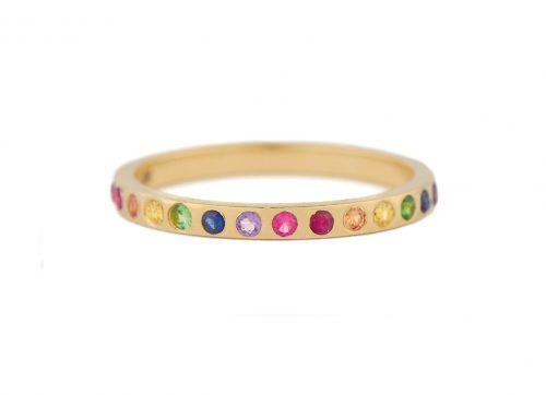 yellow gold rainbow gemstones flush setting ring celine daoust