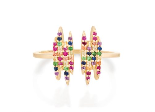 yellow gold rainbow gemstones open ring celine daoust