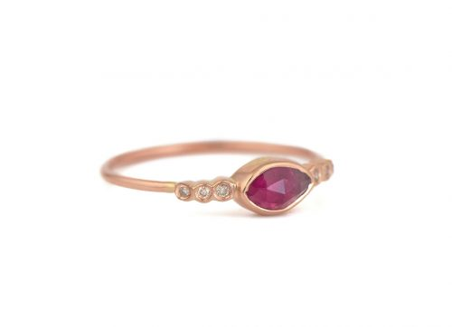 celine daoust one of a kind central tourmaline and six diamonds ring