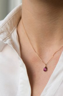 Celine Daoust rose gold pink tourmaline and one claw diamond necklace
