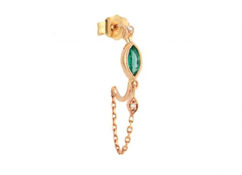 rose gold emerald marquise and diamonds eyes single hoop and chain earring celine daoust