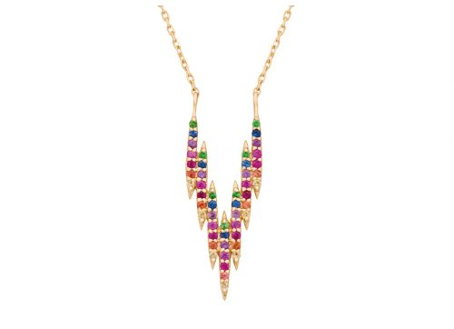 celine daoust protection believes V Lines 7 Rainbow Sapphires beams necklace