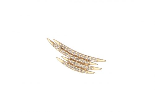 celine daoust yellow gold white diamond moving diamond stud earring