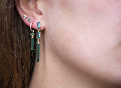 yellow gold green pencil and baguettes tourmalines single earring celine daoust