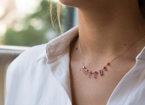 yellow gold multi pink rough pencils and baguette tourmaline necklace