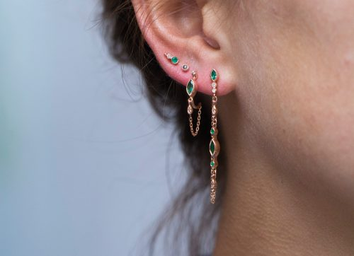 Celine Daoust Protection and Believes Marquise emerald and diamonds eyes Single long Chain Earring