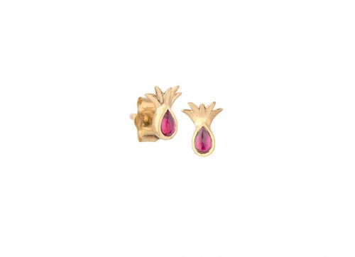celine daoust yellow gold pineapple and ruby stud earring