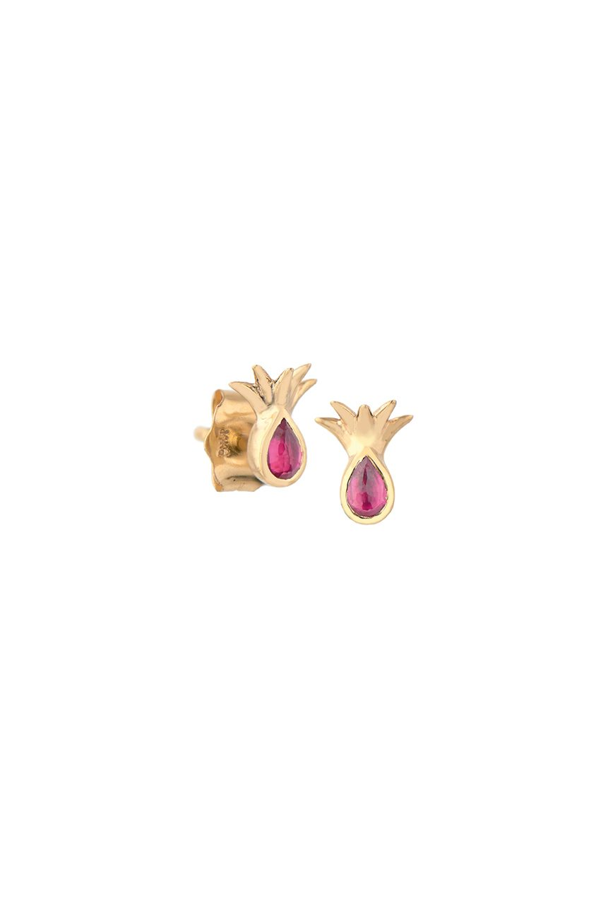 yellow gold pineapple and ruby stud earring celine daoust
