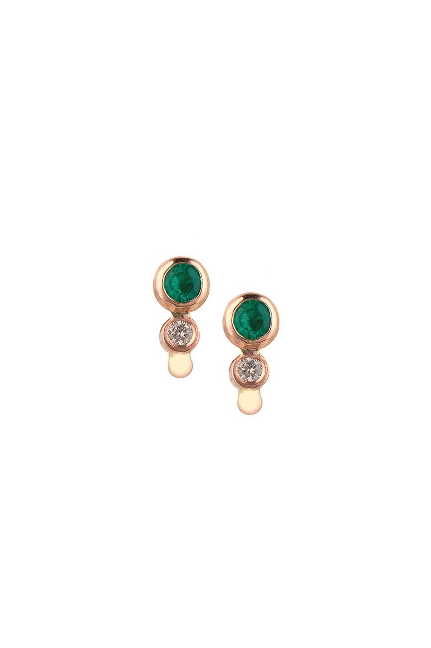 rose gold emerald and diamond stud earrings celine daoust