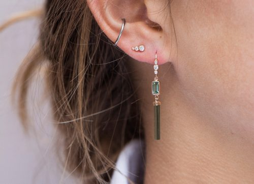 rose gold green pencil tourmaline and three diamonds earring celine daoust