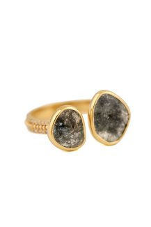 Celine Daoust grey diamonds slices and diamonds with gold balls open ring