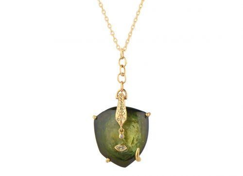 Celine Daoust_From the Earth Tourmaline snake and dangling Diamonds and eye Chain Necklace