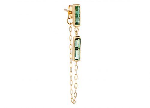 Celine Daoust Yellow Gold Tourmaline baguette Single Chain Earring