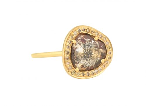 CELINE DAOUST YELLOW GOLD RING WITH ONE GREY DIAMOND SLICE AND DIAMONDS