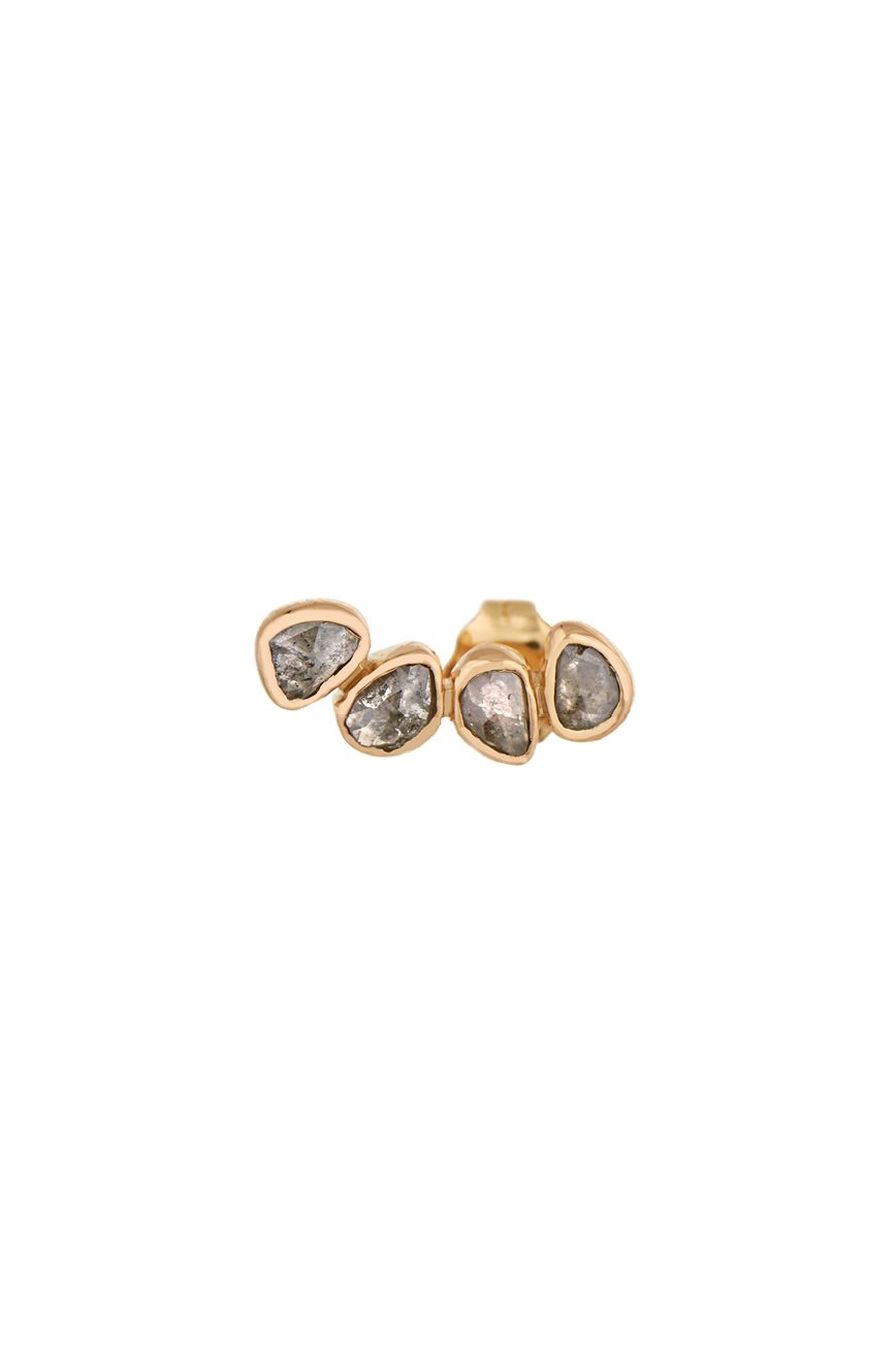 celine daoust slice of the universe yellow gold grey diamonds single earring
