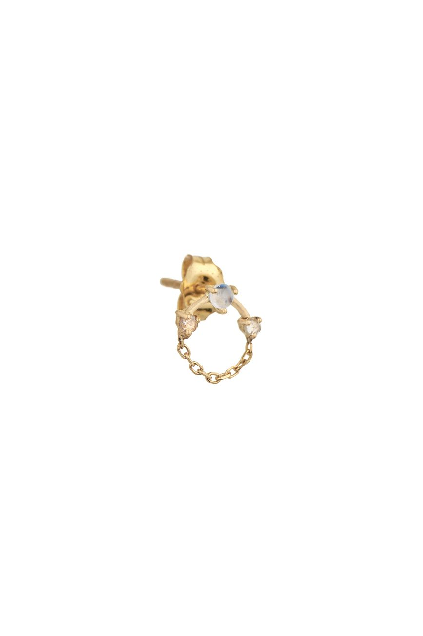 celine daoust gold diamond constellation moonstone rose cut diamond chain earring