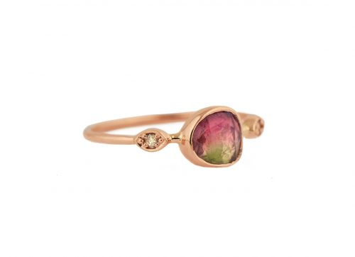 celine daoust green and pink tourmaline with two diamond eyes Ring