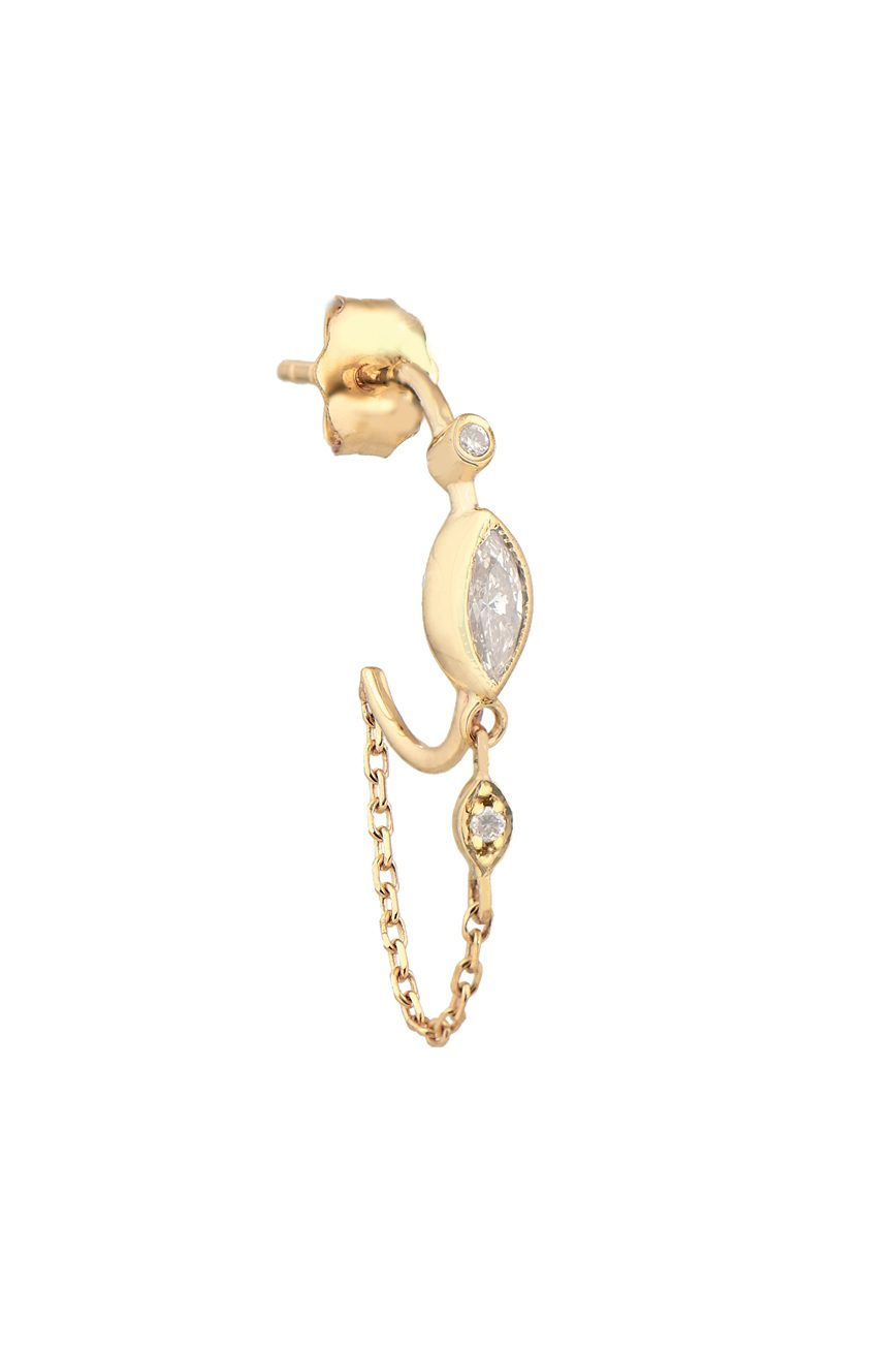 Celine Daoust Protection and Believes Diamond eyes single hoop and chain Earring