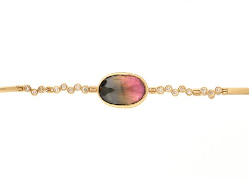 celine daoust on of a kind tourmaline and twisted diamonds articulated bracelet