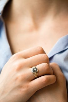 Celine Daoust grey diamonds slices and diamonds with gold balls ring