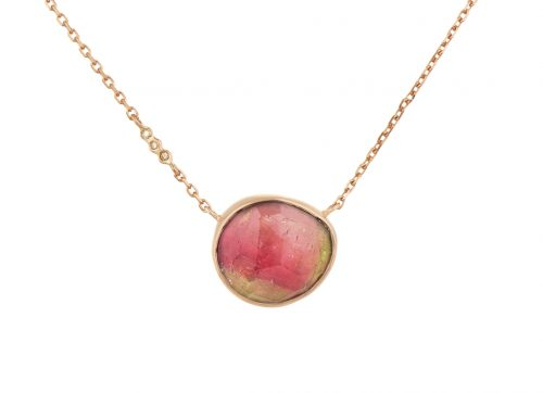 Celine Daoust Rose Gold One of a Kind Tourmaline with small diamond Necklace