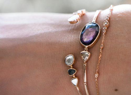 celine daoust on of a kind tourmaline and polki diamond articulated bracelet