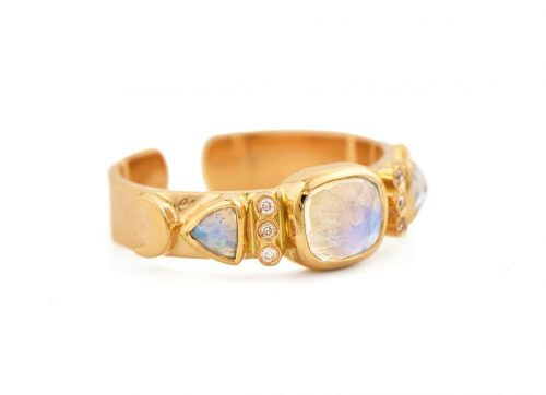 celine daoust totem moonstone and diamonds open Ring