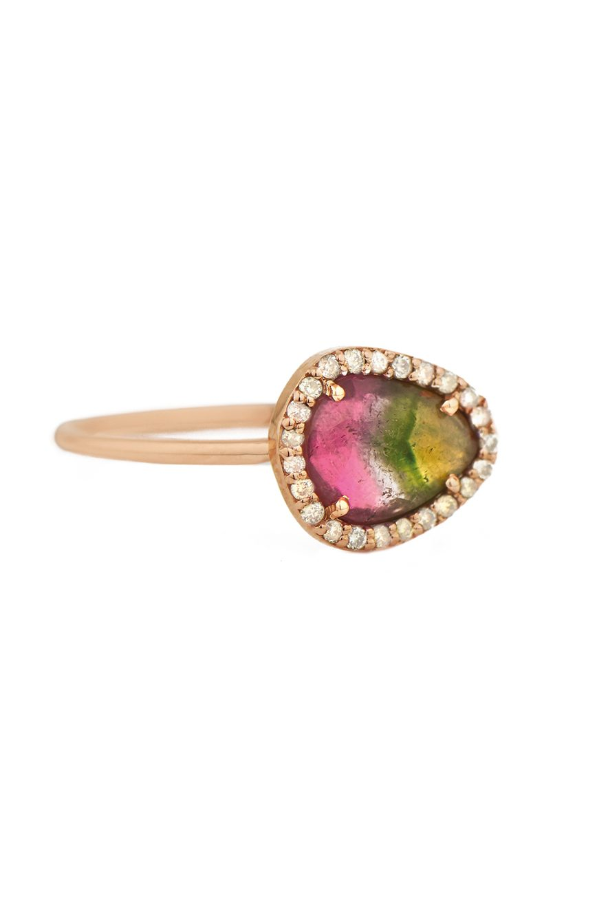 celine daoust light rose gold stella tourmaline and diamond ring