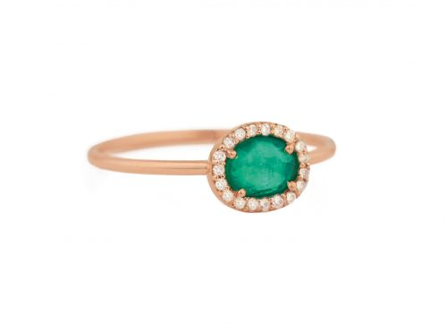 celine daoust light rose gold stella emerald and diamond ring