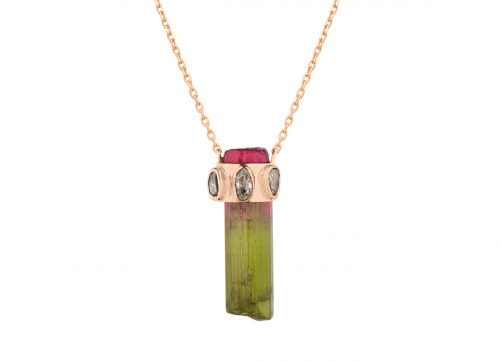 Celine Daoust One of a kind Tourmaline pencil and polki diamonds Necklace