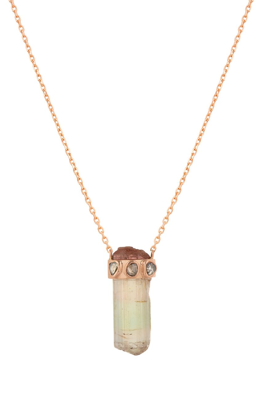 celine daoust tourmaline pencil and polki diamonds one of a kind necklace