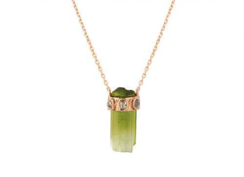 celine daoust tourmaline pencil and polki diamonds one of a kind necklace