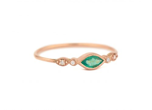 Celine Daoust Protection and Believes Emerald Marquise Tourmaline and diamond eyes Ring