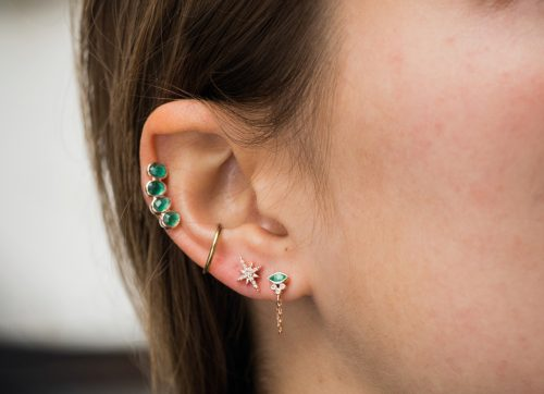 Celine Daoust Protection and Believes Marquise and tubes Emeralds Single chain Earring