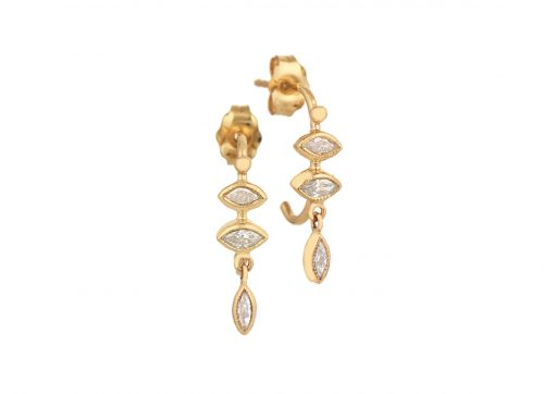 Celine Daoust Protection and Believes Marquise Diamonds and dangling eye Hoop Earring