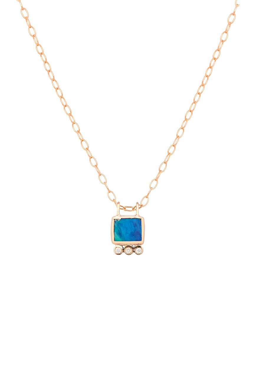 Celine Daoust 14kt Rose Gold Square and diamonds tube Chain Necklace