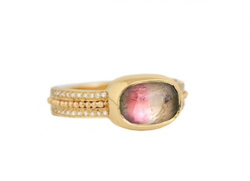 celine daoust one of a kind tourmaline diamonds and gold balls ring