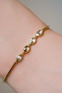 celine daoust slice of the universe multi grey diamond rose cut chain bracelet