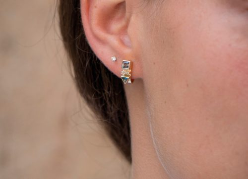 celine daoust totem tourmaline and diamonds single hoop earring