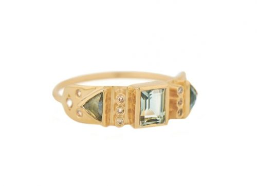celine daoust totem Green tourmaline and diamonds ring